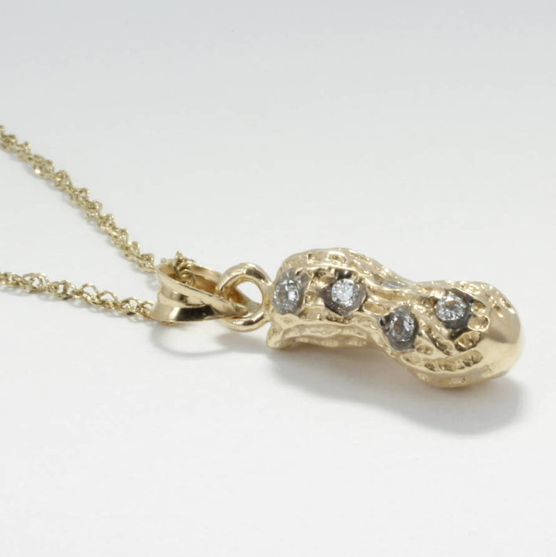 14kt gold Medium Peanut Necklace with Diamonds