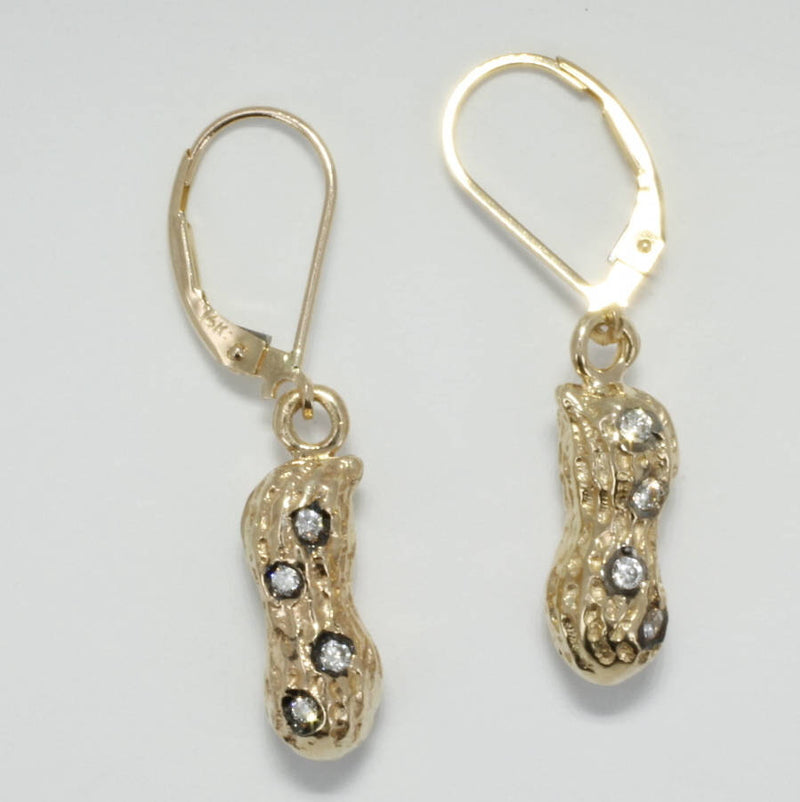 14kt gold Medium Peanut Dangle Earrings with Diamonds
