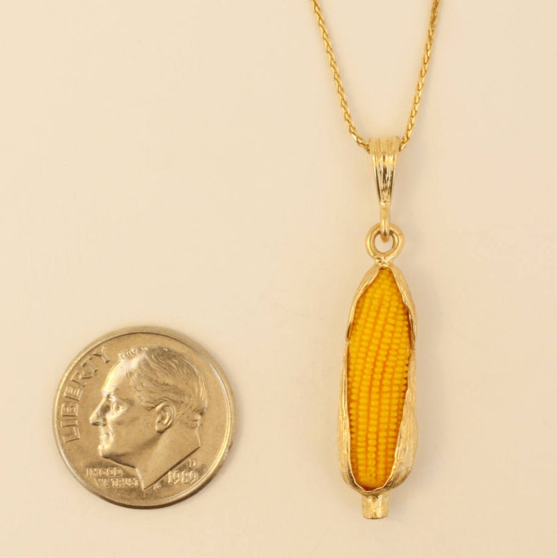 "Corn Jewelry, Large 14kt Gold Corn Cob Necklace with 18"" chain, Unique corn farmer gold necklace gift for her, corn grower association gift"