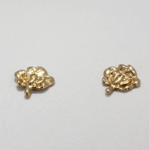 Tiny 14kt Solid Gold Cotton Boll Earrings