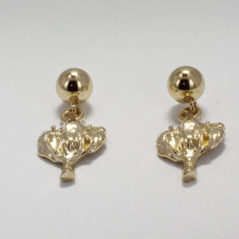 Childrens Jewelry, Little girl Dangle Cotton Boll Earrings, 14kt solid gold Cotton by agrijewelry.com