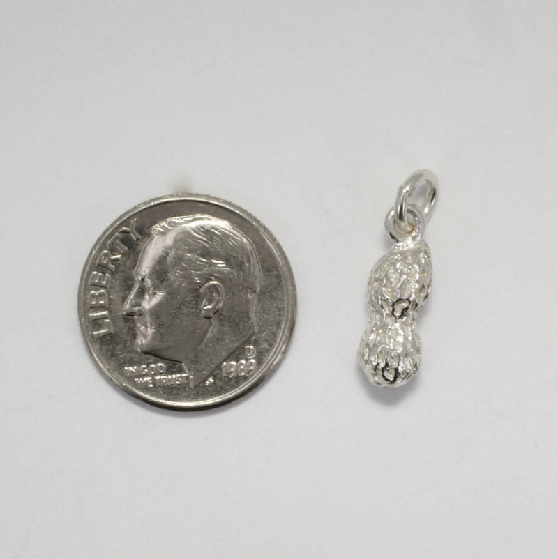 Peanut Charm, Small  925 Sterling Silver Whole Peanut Charm