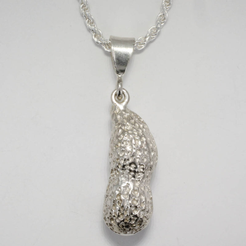 925 Sterling Silver Jumbo Whole Shell Peanut Necklace on rope chain