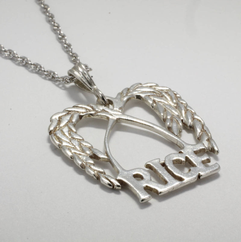 Large Rice Logo Necklace in  925 Sterling Silver