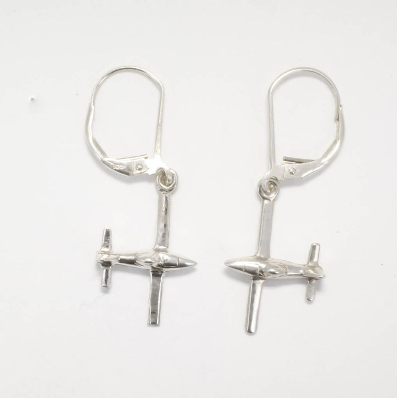 Airplane Jewelry , Airplane Earrings, Air Tractor Earrings in 14kt white gold