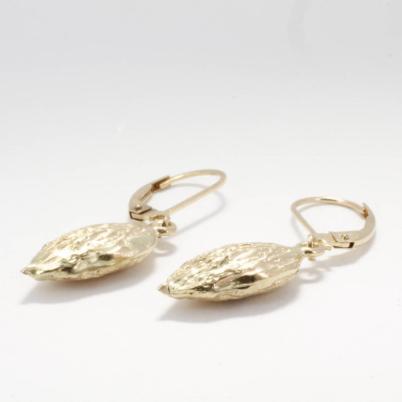 Smaller Size 14kt Gold Almond Dangle Earrings, Almond Jewelry by Agrijewelry.com