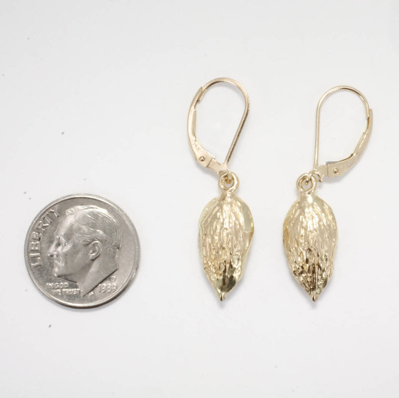 Smaller Size 14kt Gold Almond Dangle Earrings