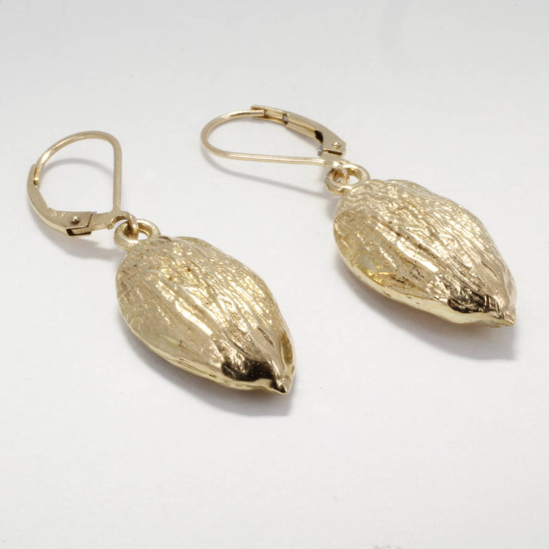 14kt gold Actual size Almond Dangle Earrings for Almond Lover. Great gift for almond grower's wife