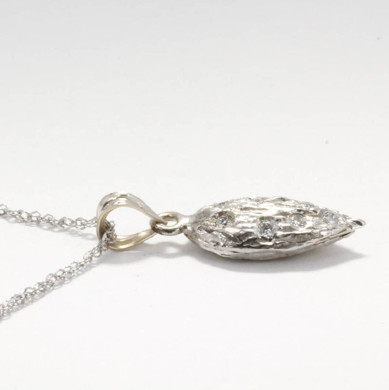 "Small 14kt White Gold Almond Necklace with diamonds on 18"" chain by Agrijewelry.com,"