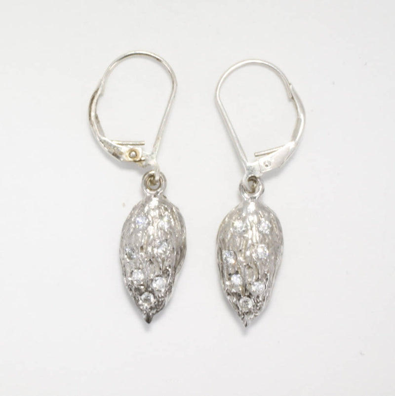 14kt white gold Small Almond dangle earrings filled with diamonds.