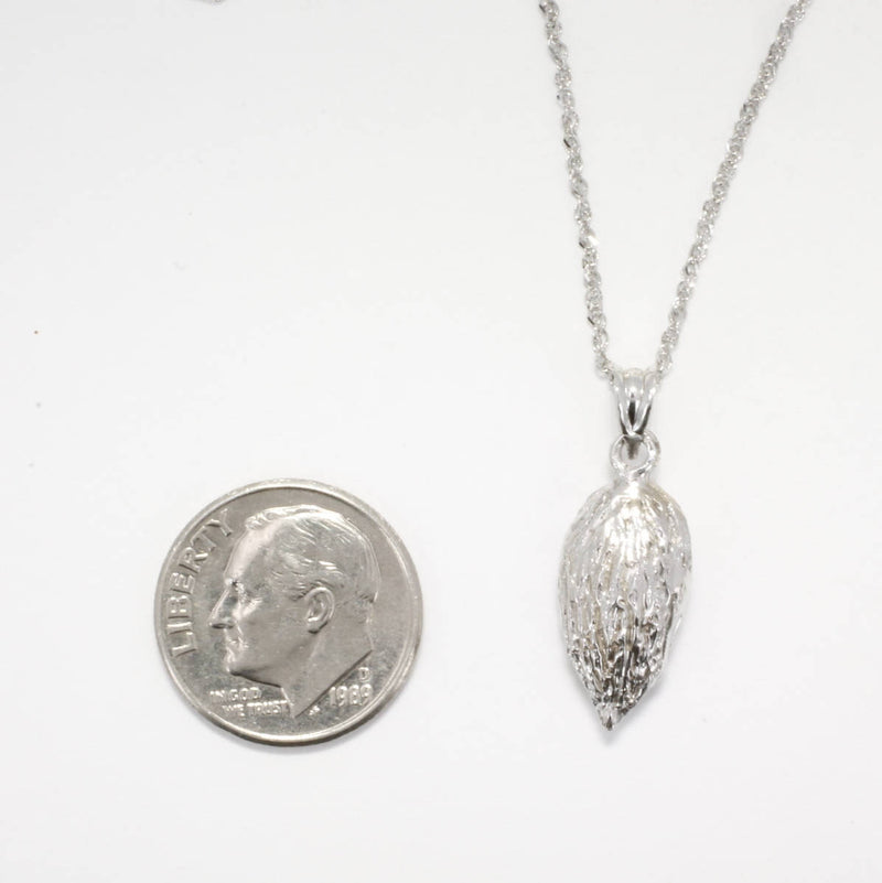 "Smaller 14kt white Gold Almond Necklace on 18"" Chain"