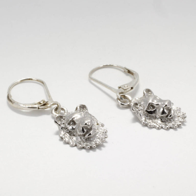 14kt White Gold Lion Heads  Dangle Earrings