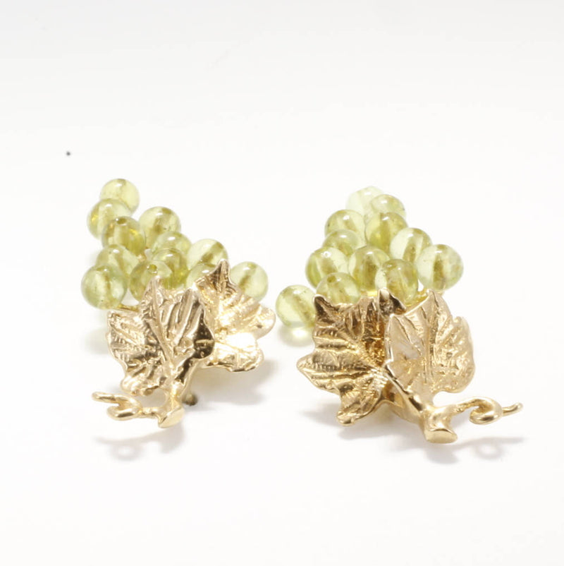Grape Earrings Jewelry gift for her, Small two leaf 14kt. Gold Peridot Grape Cluster Earrings, August birthstone gift, Table grape grower