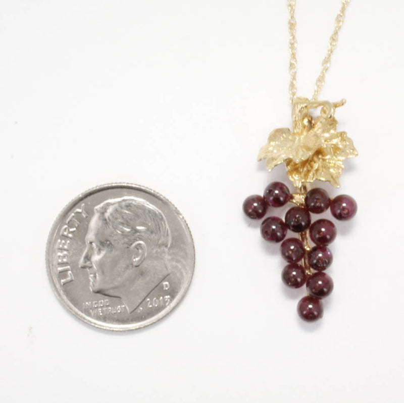 Grape Jewelry, Small Two Leaf 14kt. Gold Garnet Grape Cluster Necklace,Gift mom, Wine Lover Gift, January birthstone necklace gift for her