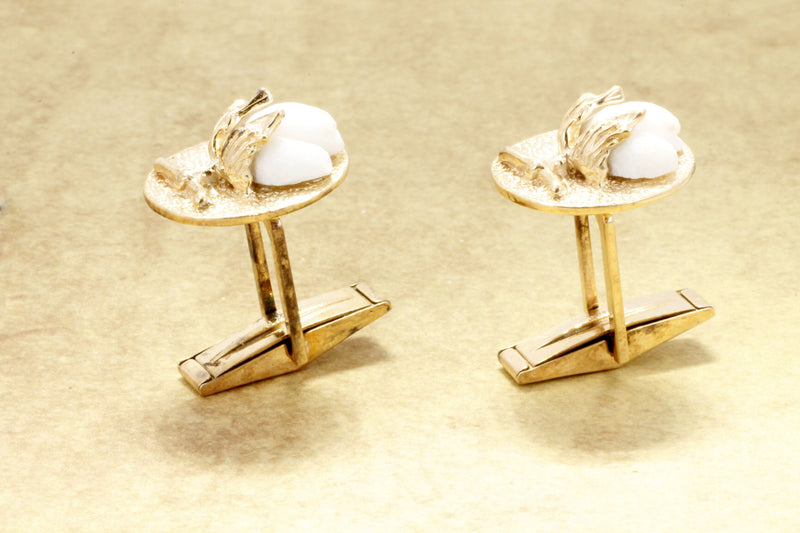 14kt gold Cotton Boll Cuff Links,Cotton anniversary gift for him,Mans cotton jewelry,Cotton Anniversary Gift for him ,Mens Second Annniversary Gift,