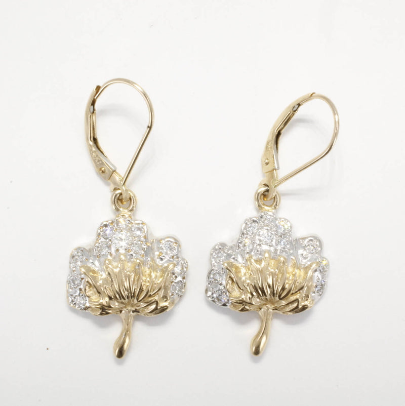 Large Diamond Cotton Boll Dangle Earrings