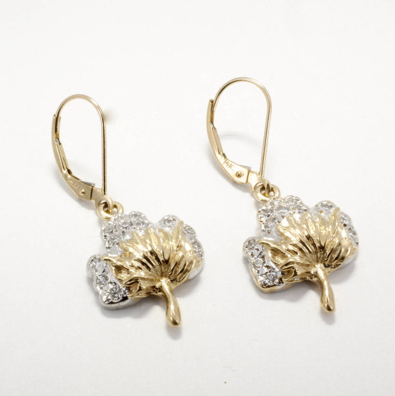 Diamond Cotton Boll Dangle Earrings