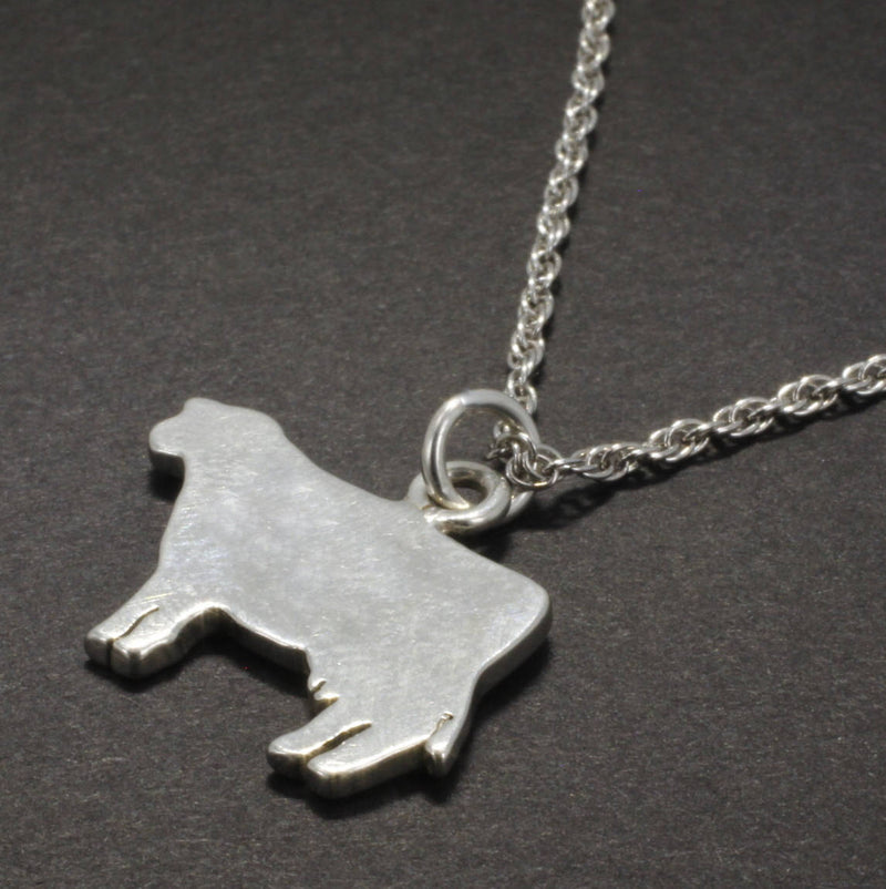 925 Sterling Silver Flat Polished Silhoutte Dairy Milk Cow Pendant necklace