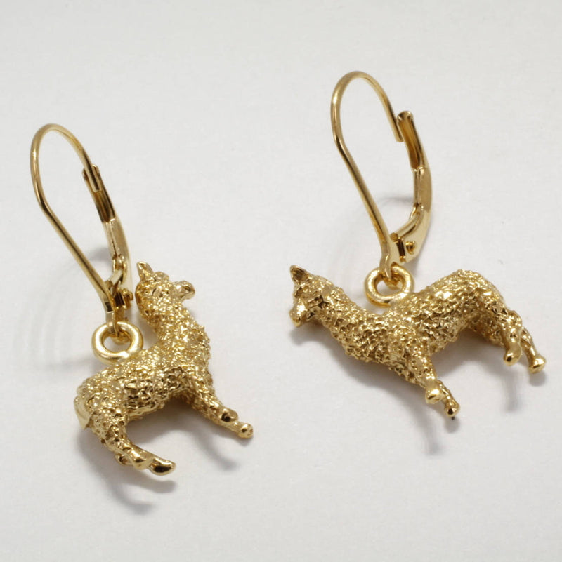 Agrijewelry.com Small Three Dimensional 14kt. gold vermeil Huacaya Alpaca Earrings