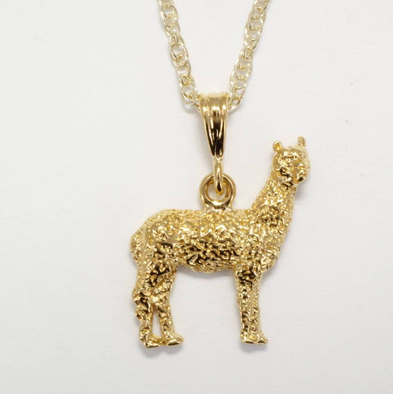 Large Two Dimensional 14kt. gold vermeil Huacaya Alpaca Necklace by agrijewelry.com