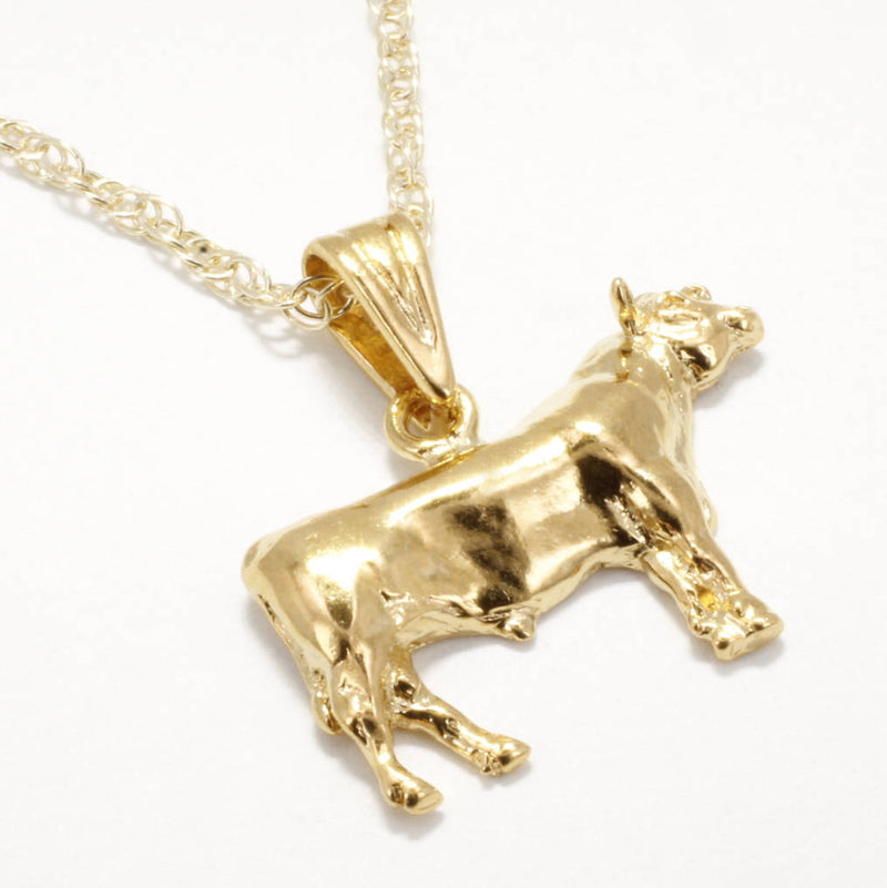Prize Angus Bull necklace for woman. 14kt Gold Vermeil Champion Bull Necklace.