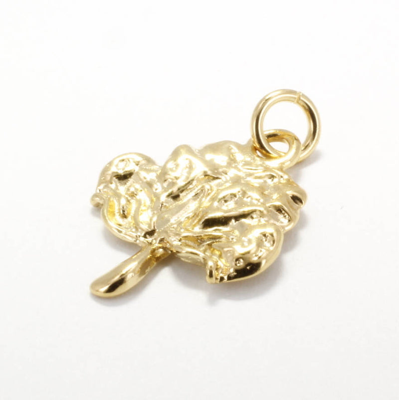 Large 14kt gold vermeil Cotton Boll Charm for her bracelet