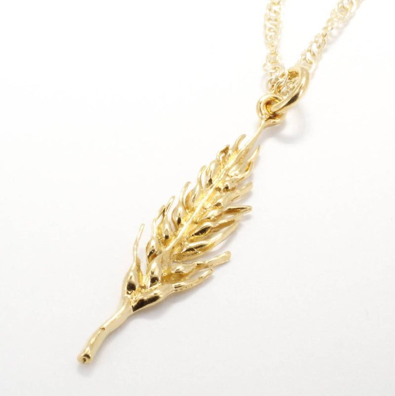 Gold Wheat Head Necklace made in 14kt Gold Vermeil for her