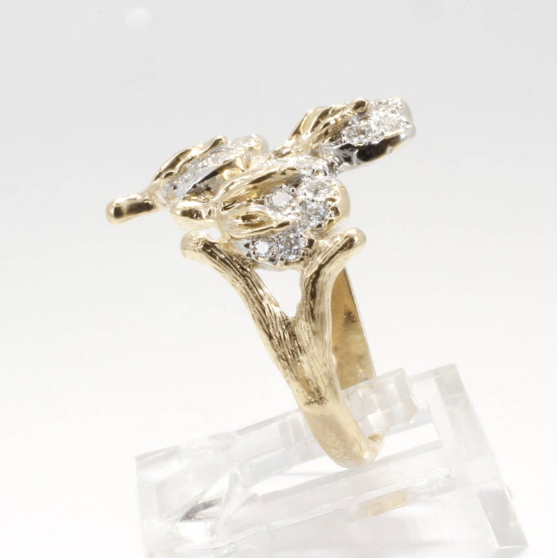 14kt yellow gold three boll cotton ring pave set with diamonds