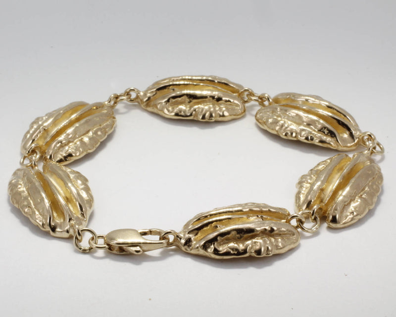 Solid 14kt Gold Pecan Bracelet for Pecan Grower
