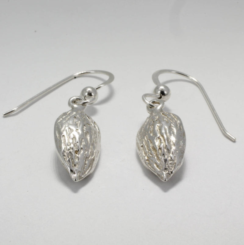 Sterling Silver Almond Dangle Earrings,california almond grower gift for wife