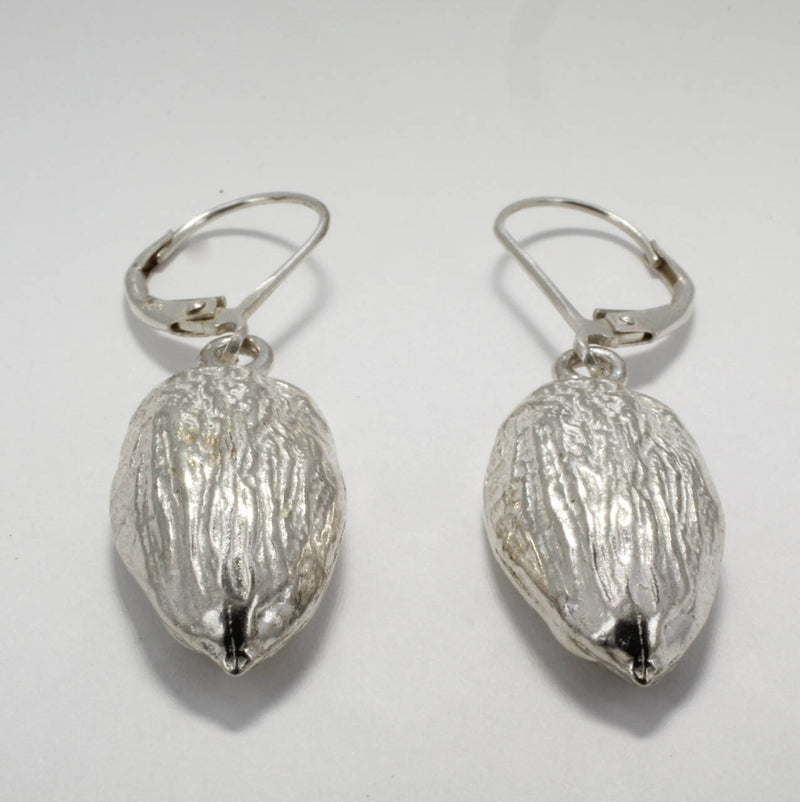 Actual Size 925 Sterling Silver Almond Dangle Earrings, California Almond Grower gift,