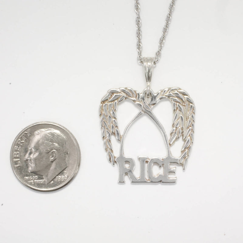 "Rice Jewelry, Large Rice Logo Necklace in  925 Sterling Silver, Rice Logo Necklace with 18"" chain, Rice Grower association gift for her"