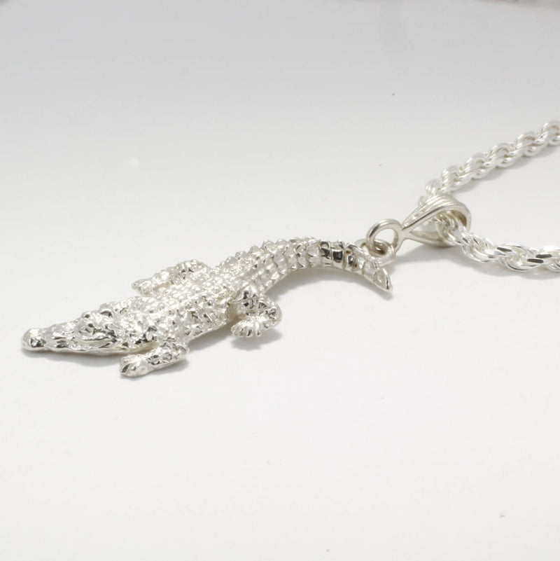 Mans Large Alligator Necklace, Crocodile Necklace by Agrijewelry.com