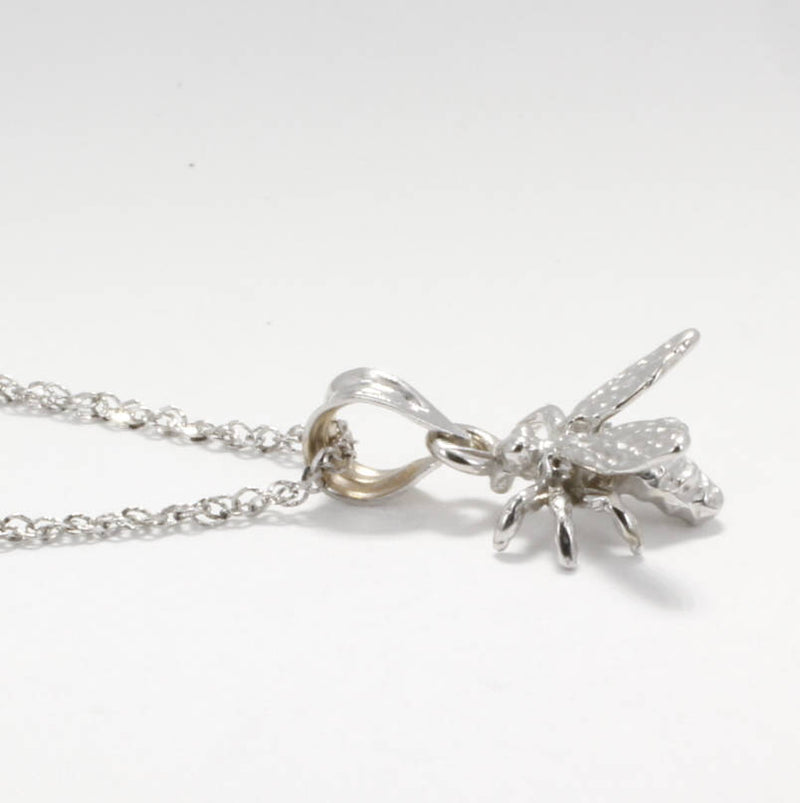 14kt Solid White Gold Honey Bee Necklace