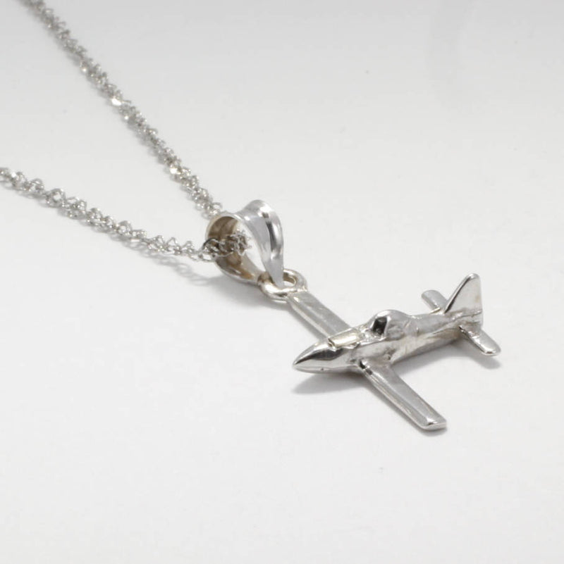 Air Tractor Necklace in 14kt white gold, WHite gold Spray plane necklace, Ag plane gold white gold