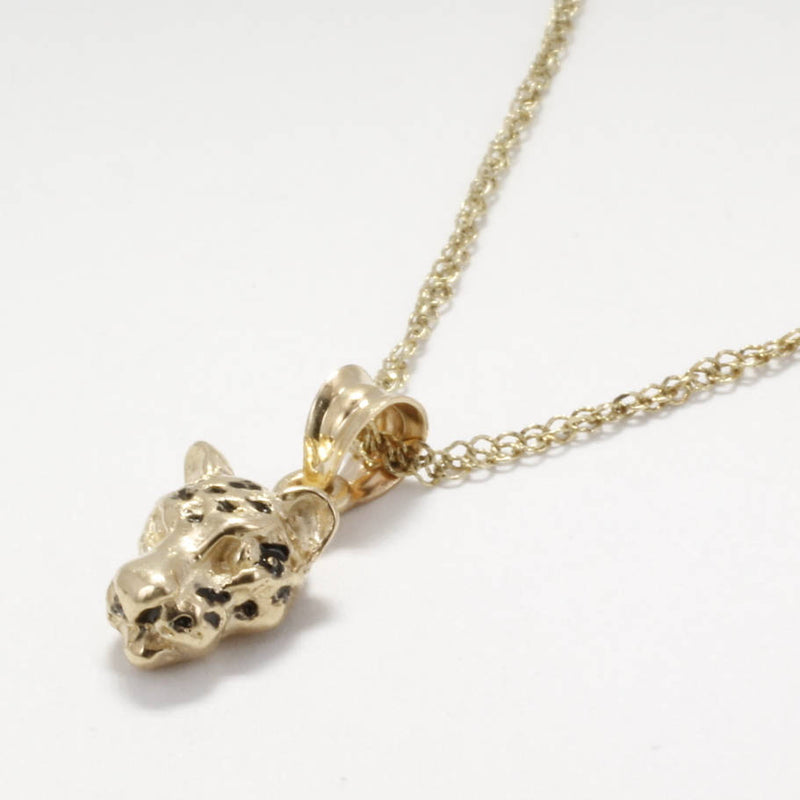 Small Leopard Head necklace in 14kt Yellow Gold