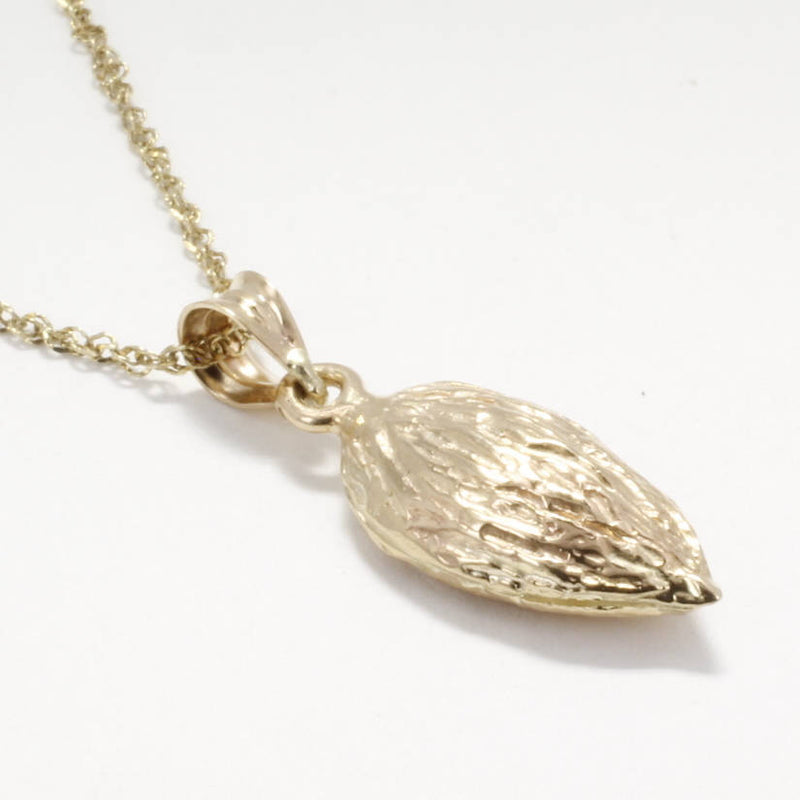 Almond Jewelry, Almond Necklace,Smaller Size 14kt Gold Almond Necklace