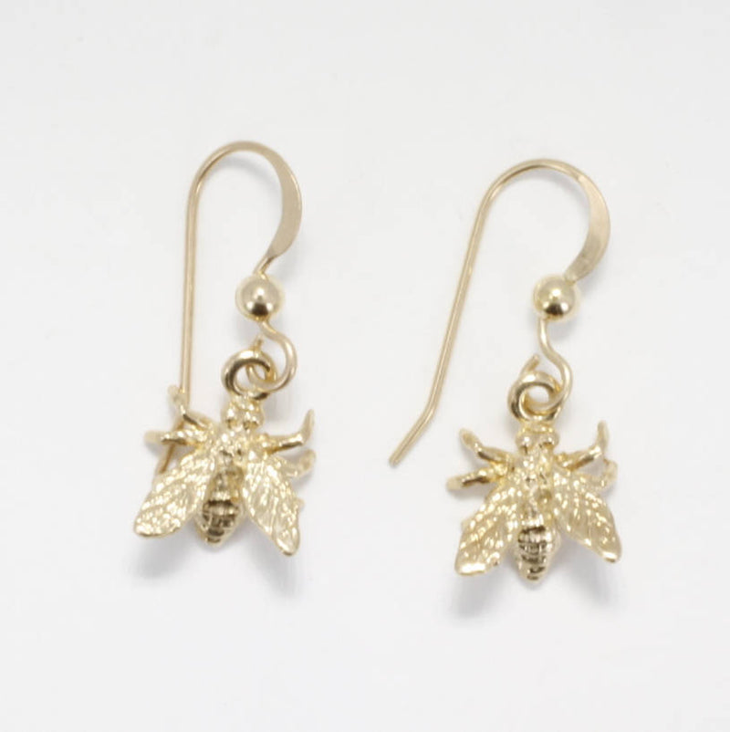 14kt Solid Yellow Gold Honey Bee Earrings