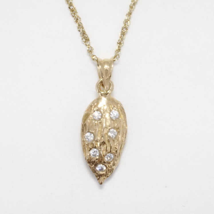 Almond Jewelry, Almond Necklace, Small 14kt Gold Almond Necklace with diamonds