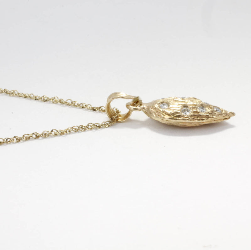"Almond Jewelry, Almond Necklace, Small 14kt Gold Almond Necklace with diamonds on 18"" chain, California almond grower gift for her"