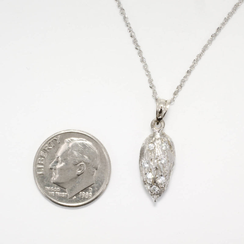 Small 14kt White Gold Almond Necklace with Diamonds