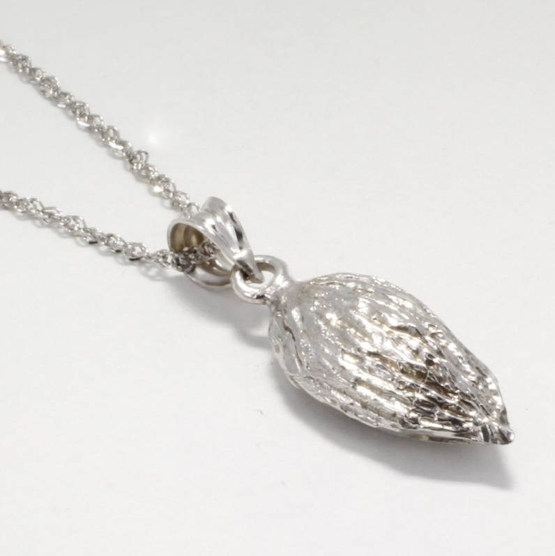 "Smaller Size 14kt white Gold Almond Necklace on 18"" chain, Almond Jewelry By Agrijewelry.com"