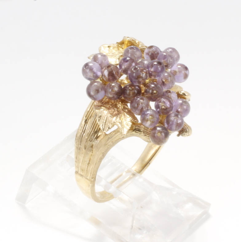 Grape Jewelry Grape Cluster Ring with purple amethyst gemstones