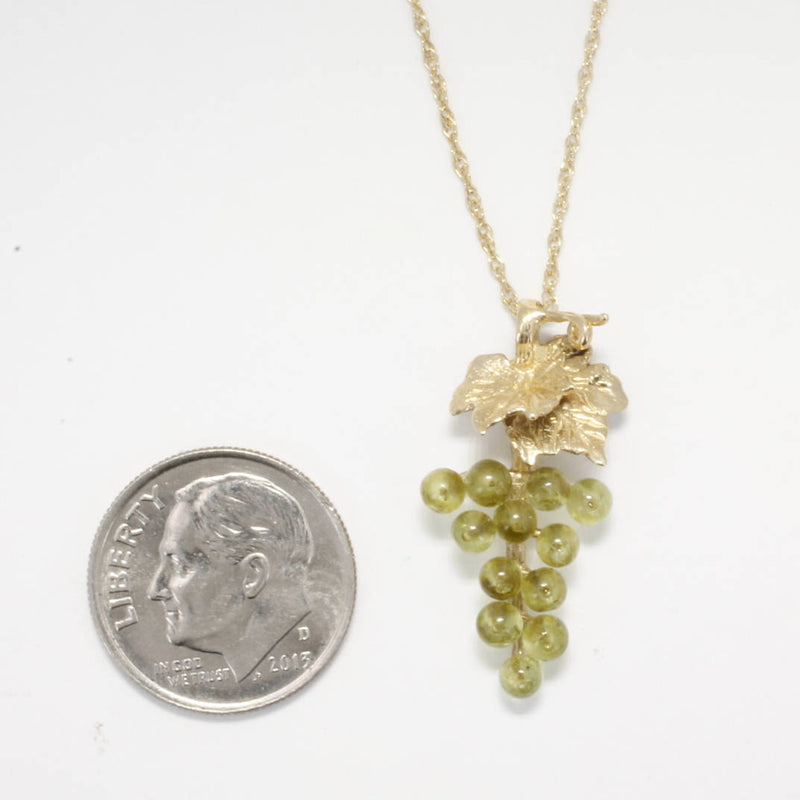 Grape Jewelry, Small Two Leaf 14kt. Gold Peridot Grape Cluster Necklace,Gift mom, Wine Lover Gift, August birthstone necklace gift for her
