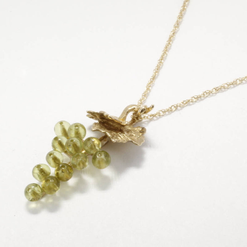 Small Two Leaf 14kt. Gold Peridot Grape Cluster Necklace