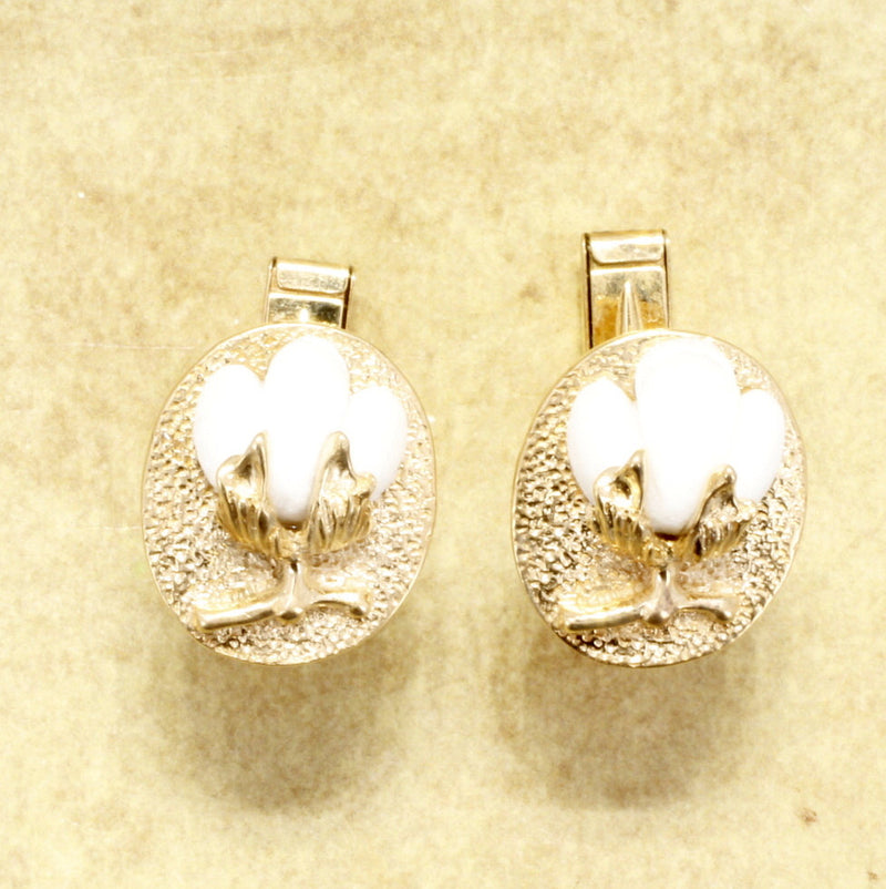 Mens Second Annniversary Gift, 14kt gold Cotton Boll Cuff Links by agrijewelry.com