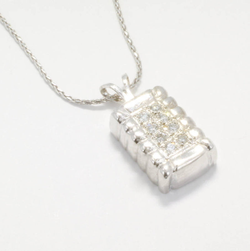 2 year anniversary gift for her,Small 14kt White Gold Diamond Cotton Bale Necklace