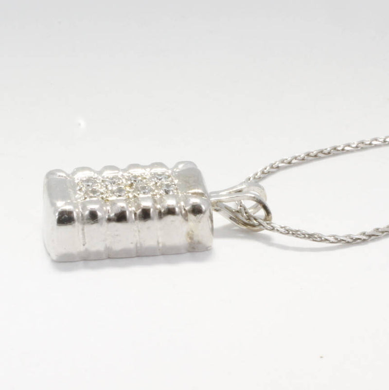 Small 14kt White Gold Diamond Cotton Bale Necklace