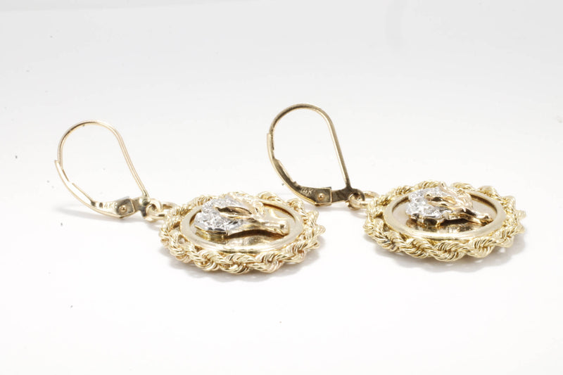 Cotton Jewelry Diamond Cotton Boll Small Medallion Dangle Earrings