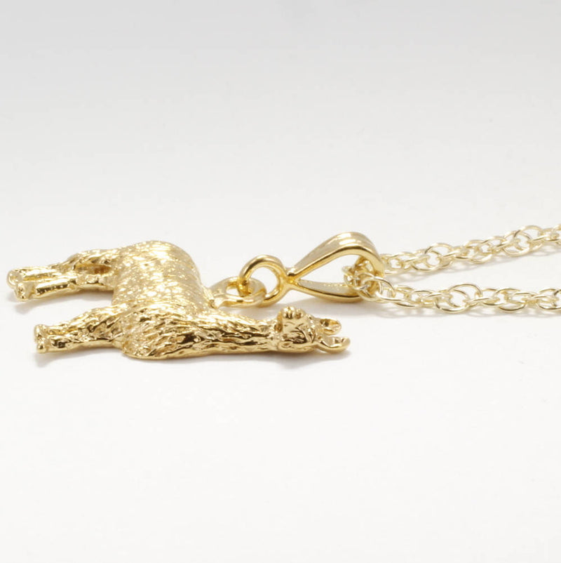 Gold Suri Alpaca Necklace made in in 14kt Gold Vermeil